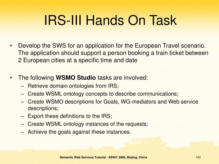 IRS-III Hands On Task