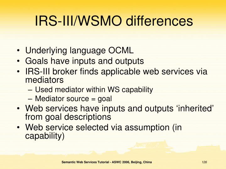IRS-III/WSMO differences