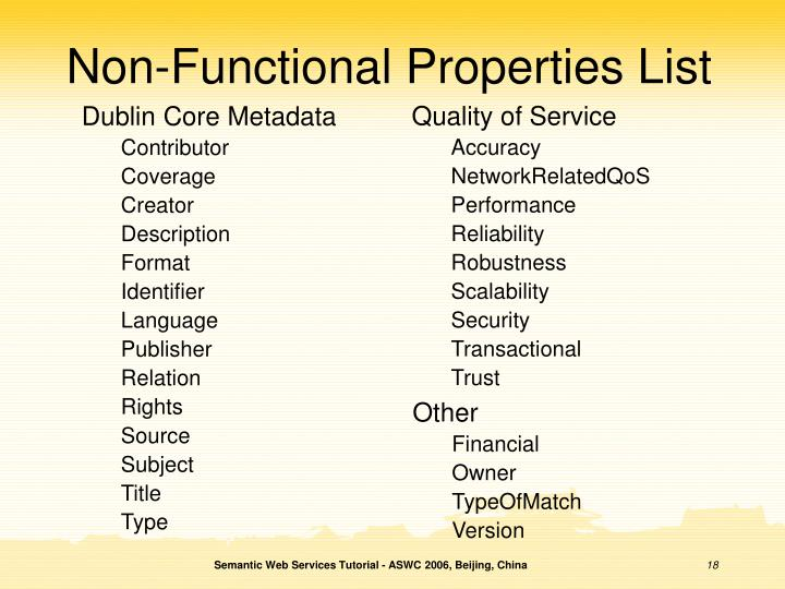 Non-Functional Properties List