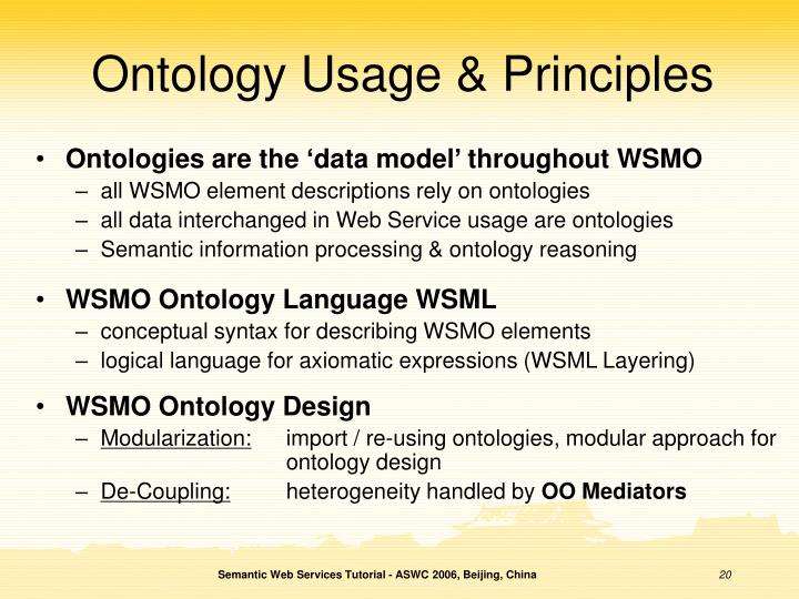 Ontology Usage & Principles