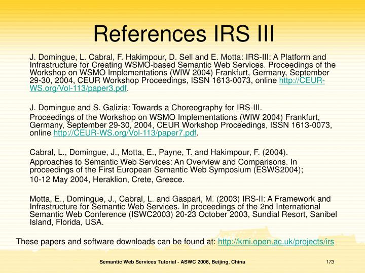 References IRS III