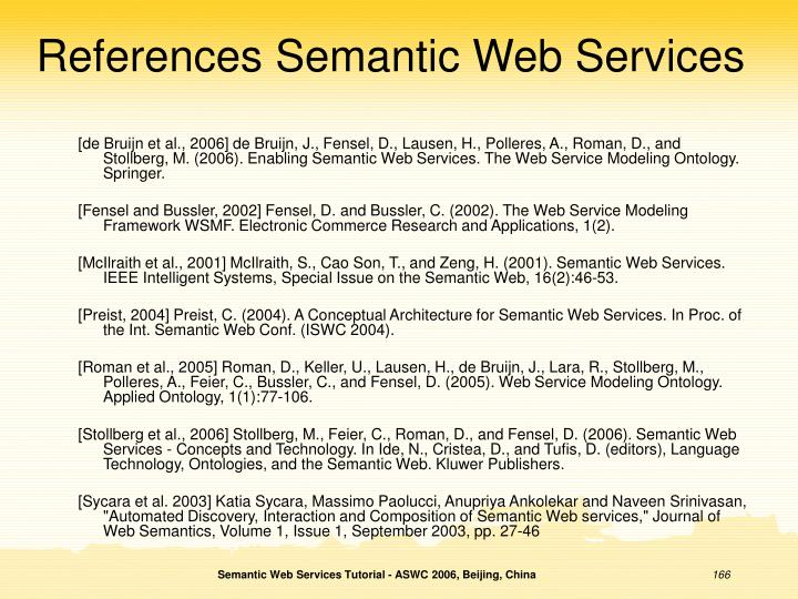 References Semantic Web Services