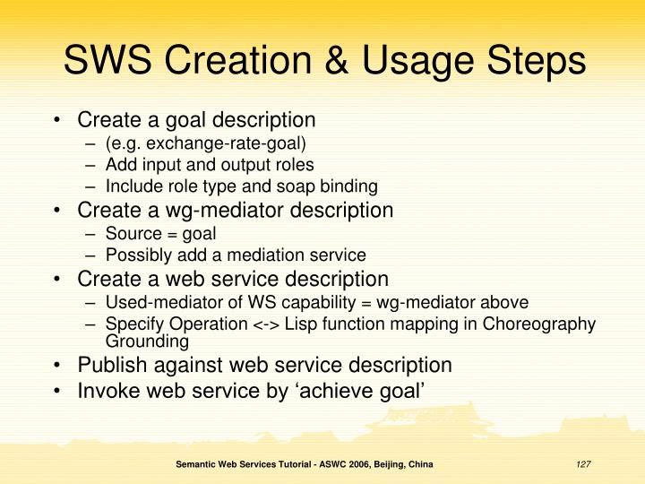 SWS Creation & Usage Steps