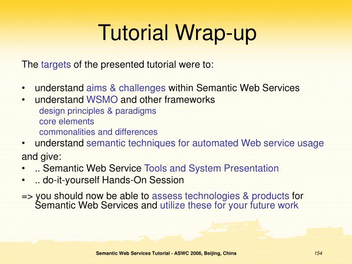 Tutorial Wrap-up