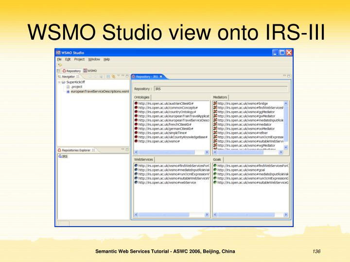 WSMO Studio view onto IRS-III