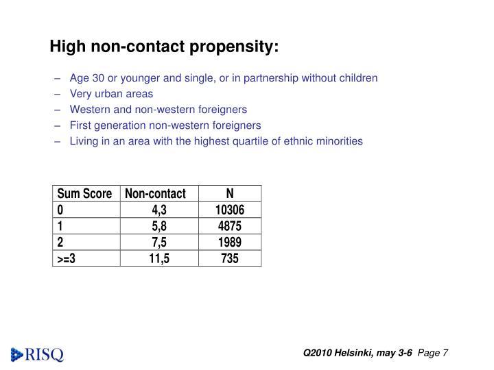High non-contact propensity: