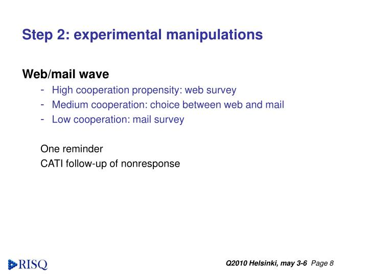 Step 2: experimental manipulations