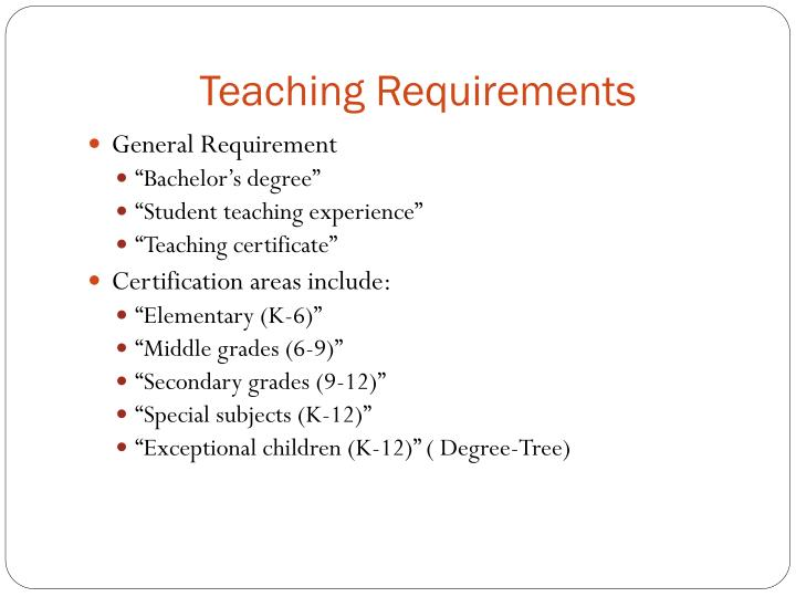 Teaching Requirements