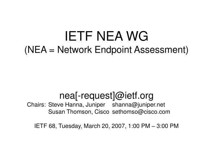 ietf nea wg nea network endpoint assessment n.